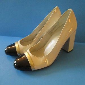 Classic! - Cream Black Patent Gold Round Toe